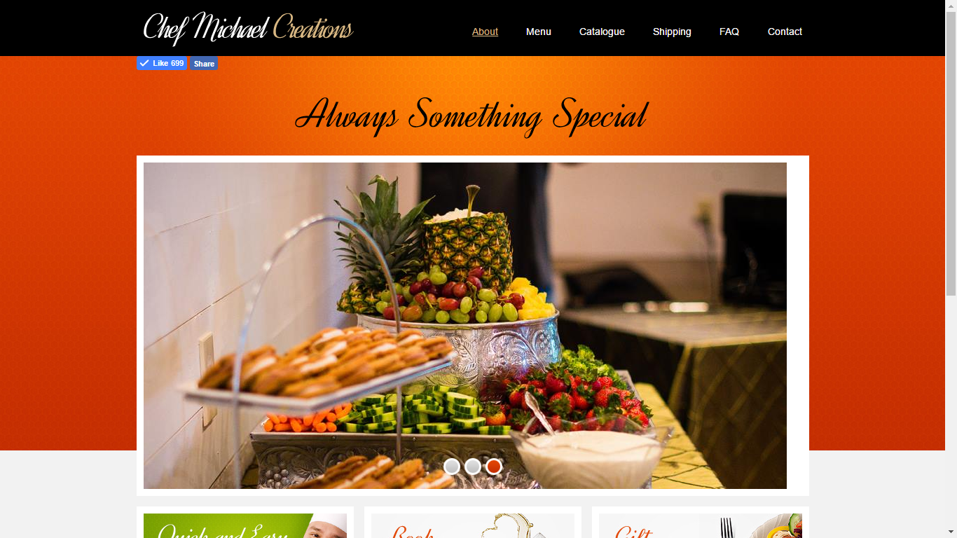 This catering website was created for Chef Michael Creations in NC
